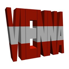 Vienna 3d text with Austrian flag on white illustration