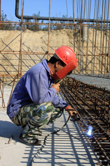 electric welder on the construction site
