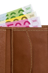 Leather waller with euro banknotes