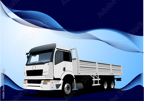 Blue wave background with lorry image. Vector illustration