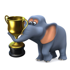 3d Elephant wins gold cup