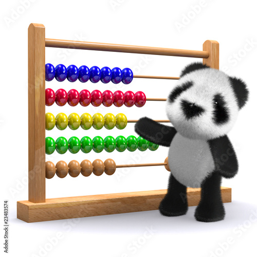 3d Panda and abacus