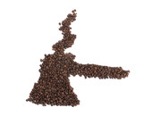 Turk made of coffee isolated on white background poster