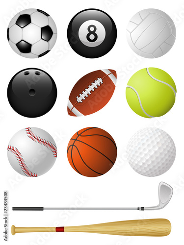 Sports icons isolated on white