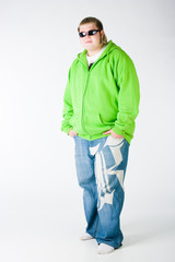 Big guy in a green shirt and jeans