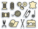 Sewing and needlework icons poster