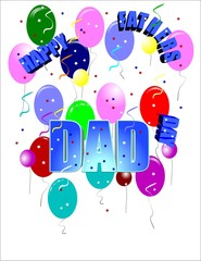 fathers day in 3d on white with curved text