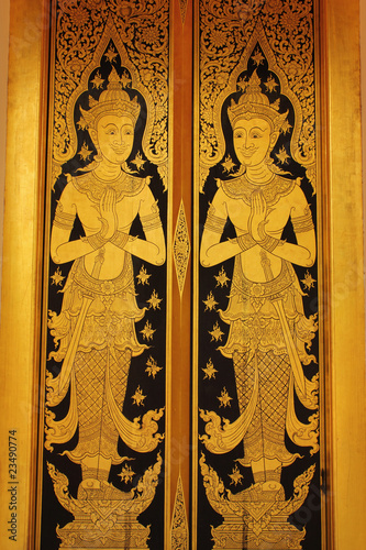 thai gold lacquer gilt temple door detail. THIS IMAGE IS PUBLIC