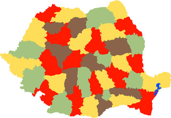 vector illustration of romanian counties