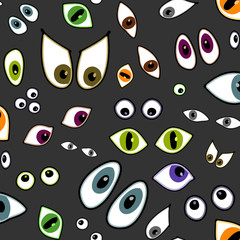 cartoon eyes - seamless pattern