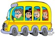 Cartoon school bus with kids