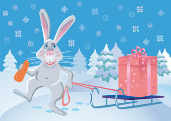 Merry rabbit with a gift.