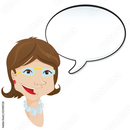 Woman announcement with speech bubble.