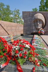 Eternal flame on monument of glory in Samara, Russia
