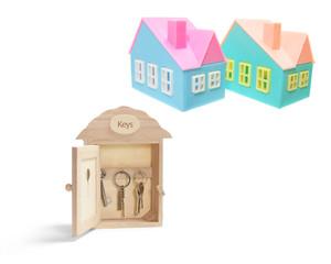 Key Box and Miniature Houses