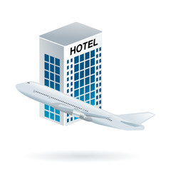 buy flight and hotel web icon