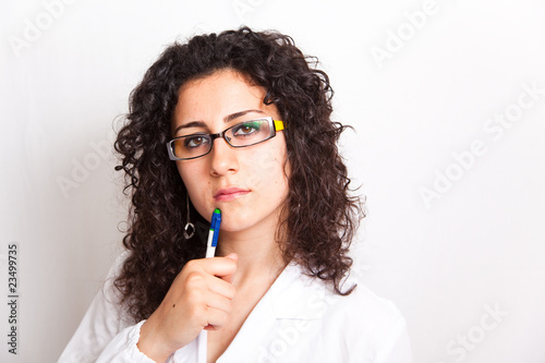female doctor with clipboard her hands