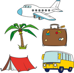 Holidays and travel clip-art set isolated