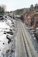 Railway paths near to rocks