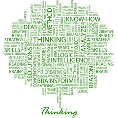 THINKING. Word cloud concept illustration.