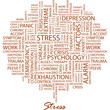 STRESS. Word cloud concept illustration.