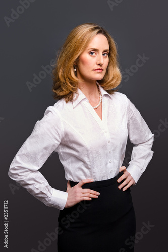 Woman wearing white jacquard shirt