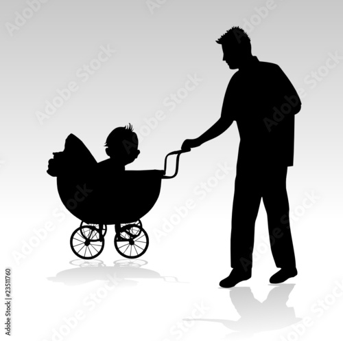father of the baby in the pram walking vector silhouette