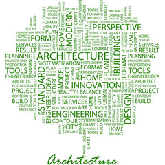 ARCHITECTURE. Word cloud concept illustration.