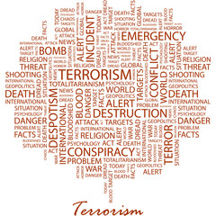 TERRORISM. Word cloud concept illustration.