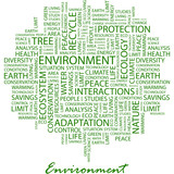 ENVIRONMENT. Word cloud concept illustration. poster