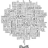 DEATH. Word cloud concept illustration. poster