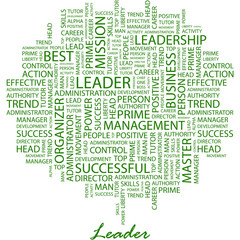 LEADER. Word cloud concept illustration.