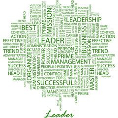 LEADER. Word cloud concept illustration.