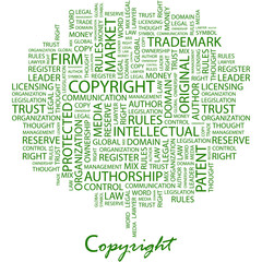 COPYRIGHT. Word cloud concept illustration.