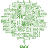 DEBIT. Word cloud concept illustration.