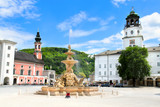 Central platz wiht  fountain in Salzbug poster