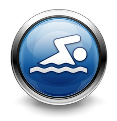 Blue swimming icon/logo