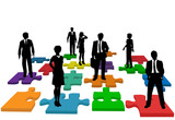 Business people human resources team puzzle poster
