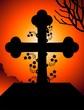 Illustration of cross symbols with sun background