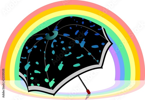 Illustration of umbrella in rainbow background