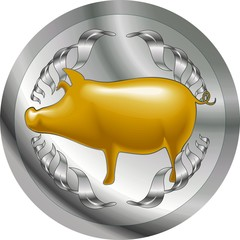Illustration of silver coins with pig symbols