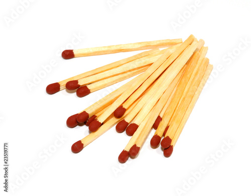 a pile of matches isolated on white background