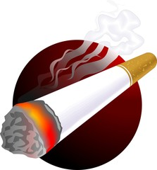 Illustration of cigarette with colour background