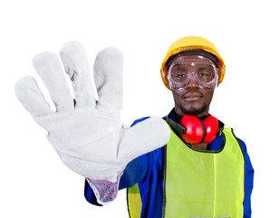 african industrial worker giving stop sign