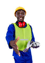 friendly african construction worker