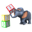 3d Elephant with counting blocks