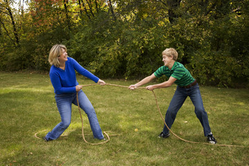 Mother and Son Tug of War