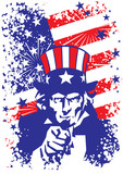 patriotic usa background with uncle sam poster