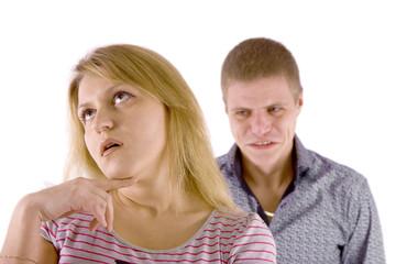 Family quarrel. white background