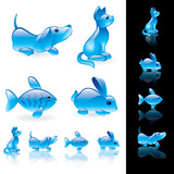 Animals crystal icon set.